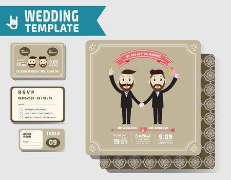 boda gay: Conjunto de plantilla de las invitaciones de boda gay Vectores