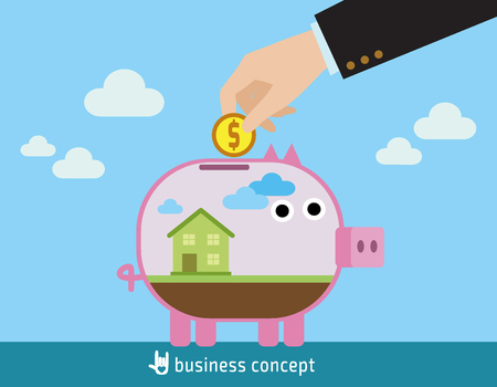 house building: Saving to buy a house or home savings conceptwith house inside transparent piggy bank