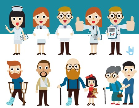 famale: doctor and patient.flat cute cartoon design illustration.healthcare concept.infographic elements. Illustration