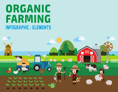tillage: Farming Infographic. vector illustration.set with animals, equipment and other objects.