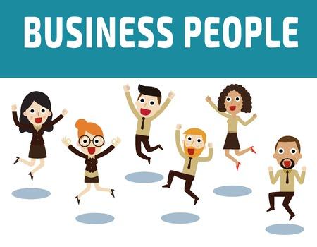 people jumping: empresarios de saltar celebrando victory.Vector concepto de ilustración de dibujos animados design.Business plana.
