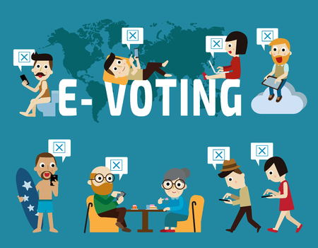 E-voting infographic element.Flat vector illustration concept.people using mobile gadgets such as laptop, tablet and smartphone for online voting via electronic internet system.