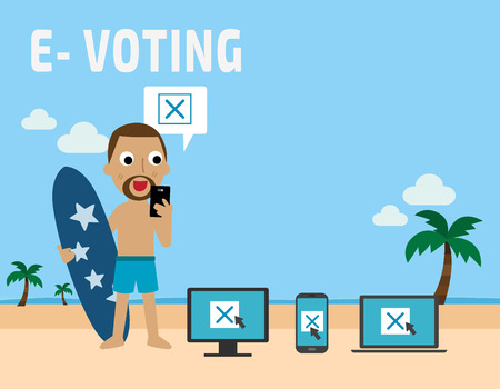E-voting. american african people standing on beach.Flat vector illustration concept.people using mobile gadgets such as laptop, tablet and smartphone for online voting via electronic internet system.