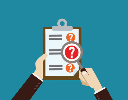 checklist: Hand holding magnifying glassand Clipboard with question marks .Survey, quiz, investigation, customer support questions conceptsflat design concept for web banners. vector illustration icon modern. Illustration