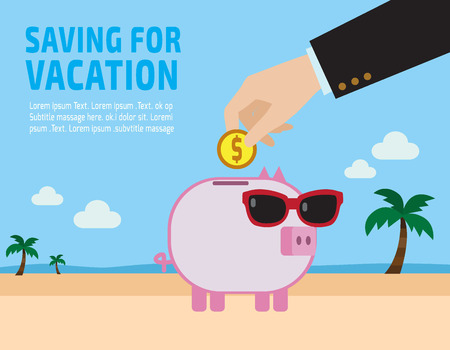 piggybank: Saving for vacation concept . piggy bank.hand holding coin. flat design concept for web banners. vector illustration brochure.infographics.