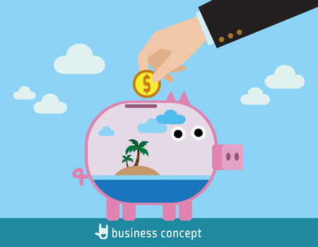 Saving for vacation concept. with a palm tree sea Island inside transparent piggy bank hand holding coin. flat design concept for web banners. vector illustration brochure.infographics.