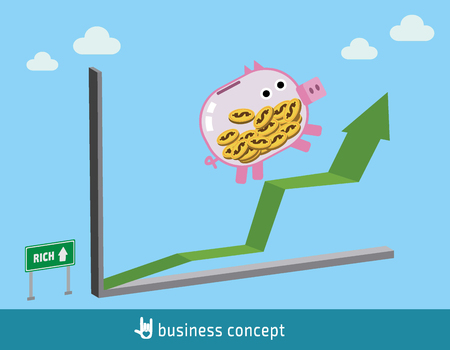 The piggy running on line graph.stock market growth.flat design concept for web banners. vector illustration brochure.icon infographics. Illustration