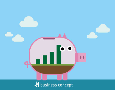 growing inside: Business stock growth concept with graph growing inside transparent piggy bank. flat design concept for web banners. vector illustration brochure.icon infographics.