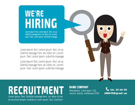recruitment icon: Hiring. Recruitment.Hand pointing to professional of business woman.flat vector illustration concept.for presentation web banner poster printed materials.isolated on white background