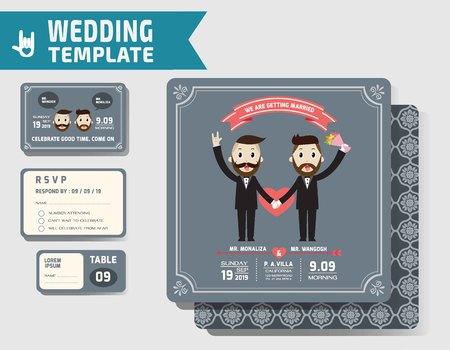boda gay: Conjunto de la boda invitaciones Gay template.Vector Ilustración. concepto design.homosexual moderna. Vectores
