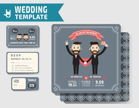 couple date: Set of Gay wedding Invitations Template.Vector Illustration. modern design.homosexual concept.