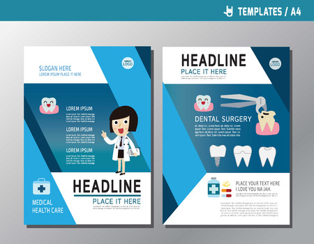 Banner Flyer Brochure Template LayoutClose Up Cardiologist
