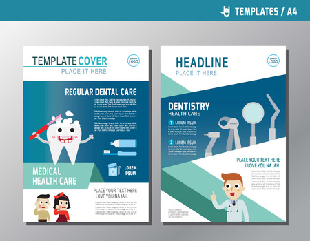 Health Leaflet Brochure Template A4 Size Design.abstract Flat Vector Modern  Multipurpose Style.annual