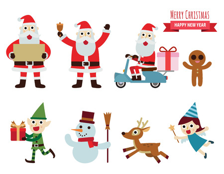 Christmas vector characters set.design elements illustration concept.happy new year. Santa Claus. reindeer. snowman. cartoon