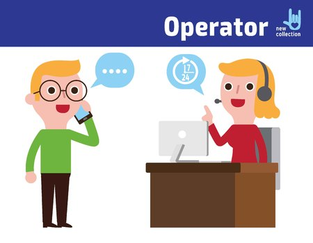 customer service: Customer Service Call Center.Woman Operator On Duty,Customer Man  cellphone.vector character icon illustration. Illustration