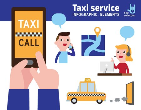 phone and call: Business man on smart phone.Order a taxi through the app on your phone.Vector infographic illustration of a flat design.