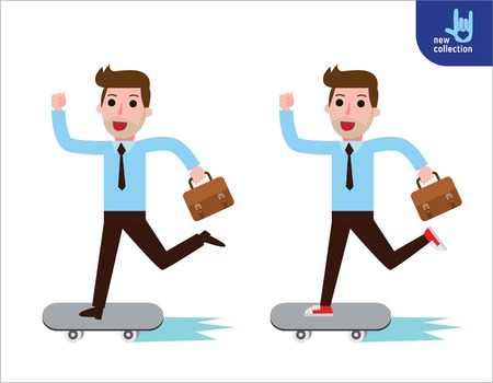 Confident businessman and going to his office on skateboard.Vector cartoon character icon design.Business concept.