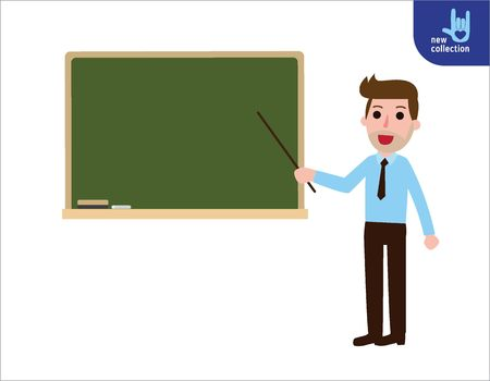school: Teacher standing in front of blackboard teaching student in classroom at school. college or university.Vector flat cartoon people character icon design.Business illustration concept.