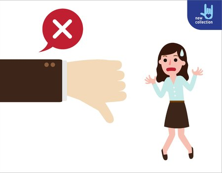 inability: Business woman standing emotion unsuccessful.thumbs down.Vector flat cartoon character icon design.Business illustration concept.