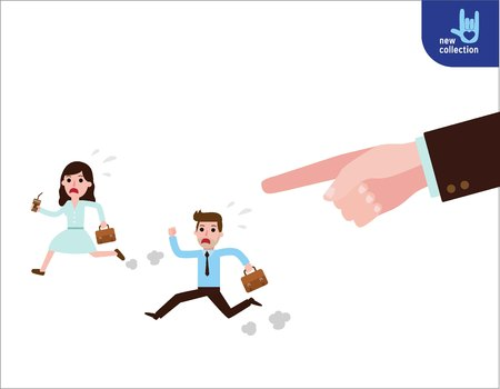 Closeup hand finger pointing to businesspeople.Employees hurry of running.Symbol of control a staff.Vector flat cartoon character icon design.Business illustration concept.