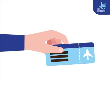 Close up. man holding  in his hand the ticket flight.Symbol of travel and tourism.Vector flat cartoon design illustration.Personal identification concept.Isolated on white background.
