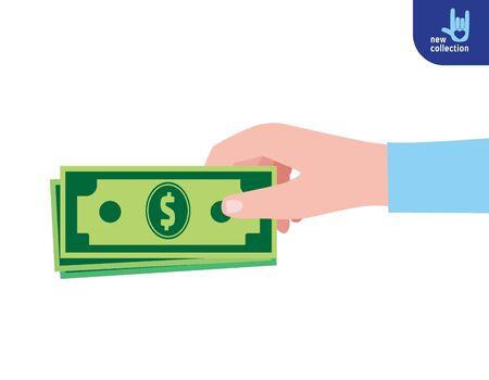 soumis: Fermer. L'homme d'affaires détient de l'argent dans la main.Symbole de l'argent. Concepteur de dessin animé plat. Concept d'entreprise de placement.Isolated sur fond blanc. Illustration