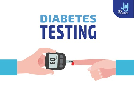 blood sugar: Diabetes testing. person holds in hand the meter measures the blood sugar level.Blood drop test strip.Vector flat cartoon design.Medical health illustration concept.
