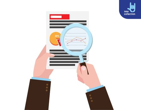 marketing research: Closeup. Businessman holding magnifying glass. research market analysis. Symbol of analytics. accounting. graphs.Vector flat cartoon icon design illustration.Planning financial marketing concept.