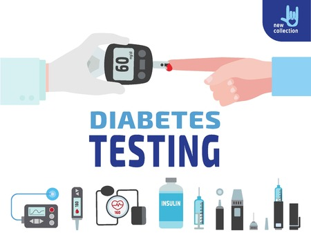 blood sugar: Diabetes testing. Doctor holds in hand the meter measures the blood sugar level.