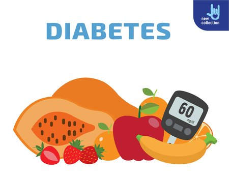 blood sugar: Food for diabetics consisting of fruits.Meter measures the blood sugar level.