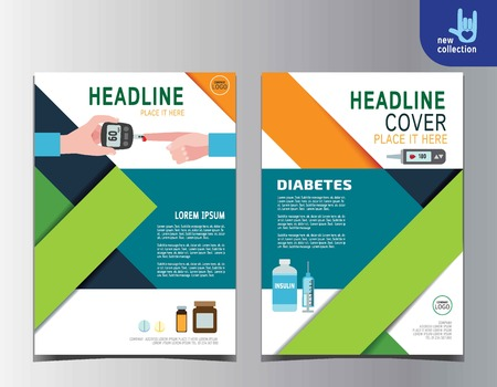 medical report: Diabetes health flyer leaflet brochure template A4 size design.abstract  flat vector modern multipurpose style.annual report book cover layout.
