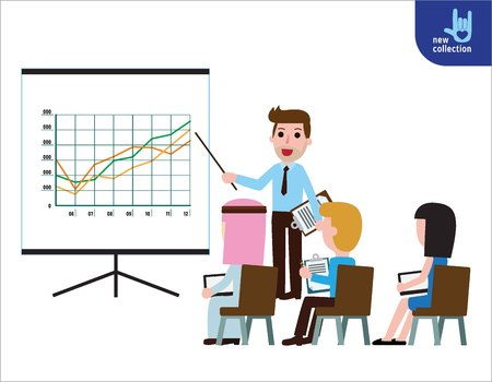 Business seminar speaker doing presentationSymbol of professional training.marketing. meeting. plan. conference. audience.Vector flat cartoon character icon design illustration.Business  motivation concept.