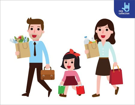 Family of father, mother, daughter shopping together.Symbol of Family buying food.carrying bags with grocery products.Vector flat cartoon character icon design illustration.Business supermarket concept.