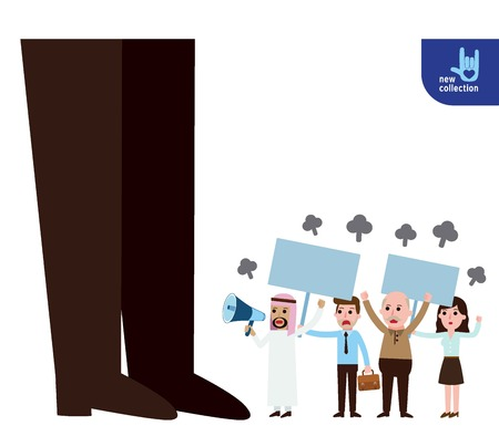opposition: Closeup leg of boss.business people demonstration or Protest with megaphone and placard,Symbol of protester.Vector flat cartoon character icon design.revolution illustration concept. Illustration