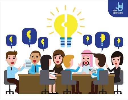 tormenta de ideas: Lluvia de ideas idea bombilla meeting.Symbol de Presentación del project.Cooperation. Asociación. trabajo en equipo. plan.Vector icono de personaje de dibujos animados plana de diseño illustration.Business concepto creativo. Vectores