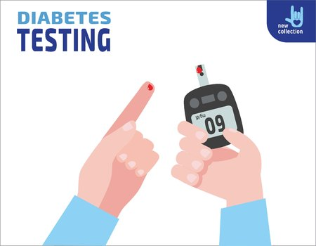Diabetes testing. person holds in hand the meter measures the blood sugar level.Blood drop test strip.Vector flat cartoon design.Medical health illustration concept.