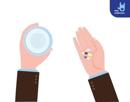 taking medicine: Taking the pills. Man hold glass of water and Medicine pills or capsules in hands.