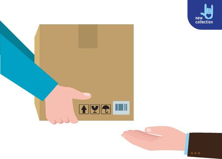 Closeup. busines man hand accepting a delivery of boxes from deliverymanCourier Hands with postal cardboard box.service concept.Vector flat cartoon design illustration.Isolated on white background.