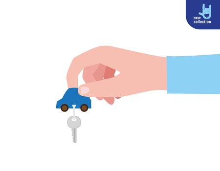 Close up. Womans hand holding car keys isolated on white background.giving concept.Vector flat cartoon design illustration.Isolated on white background.