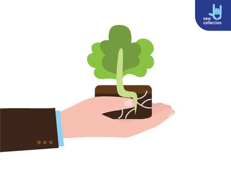 Close up. Businessman holding a green sprout in hand.Concept of Planting sapling. Care and Environmental development Vector flat cartoon design illustration.Isolated on white background.