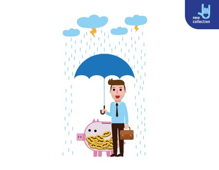 Businessman hand holding umbrella with Piggy bank protection. Illustration