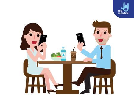 Businessman and woman talking on the phone is sitting at restaurant.addiction Smartphone. Illustration