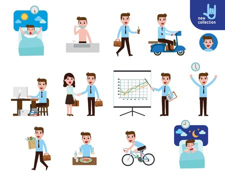 Daily routine of happy businessman. Lifestyle infographic element. Illustration