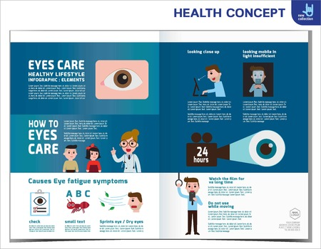 eyes closeup: How to eyes care. Health care concept.Infographic element. treatment. Illustration