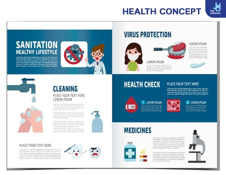disinfect: Virus Protection. infographics elements.medical healthcare concept. protect germ.