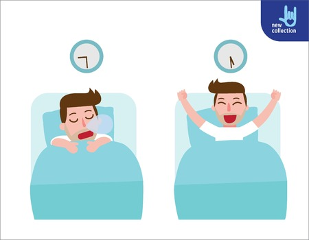happy man wake up on the stretching bed.and sleeping. good morning and good night.People healthy lifestyle concept.Vector flat style cartoon character design illustrationIsolated Çizim
