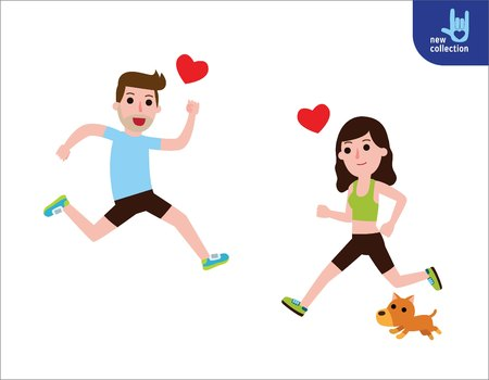 happy man and woman jogging of find love. Couple in love concept. People exercise healthy lifestyle.Vector flat style cartoon character design illustrationIsolated on white background.