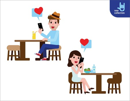 romantic woman: Couple romantic chatting online on social network with smartphone.Man and woman sitting in healthy restaurant.people lifestyle concept.Vector flat style cartoon character design illustration