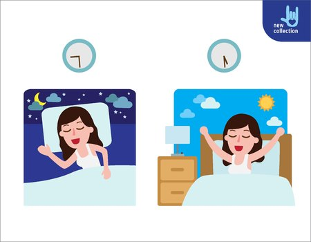 happy woman wake up on the stretching bed.and sleeping. good morning and good night.People healthy lifestyle concept.Vector flat style cartoon character design illustrationIsolated