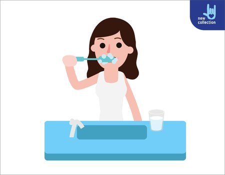 woman hygiene protection: Happy woman brushing his teeth in the bathroom.People healthy lifestyle concept.Vector flat style cartoon character design illustrationIsolated on white background